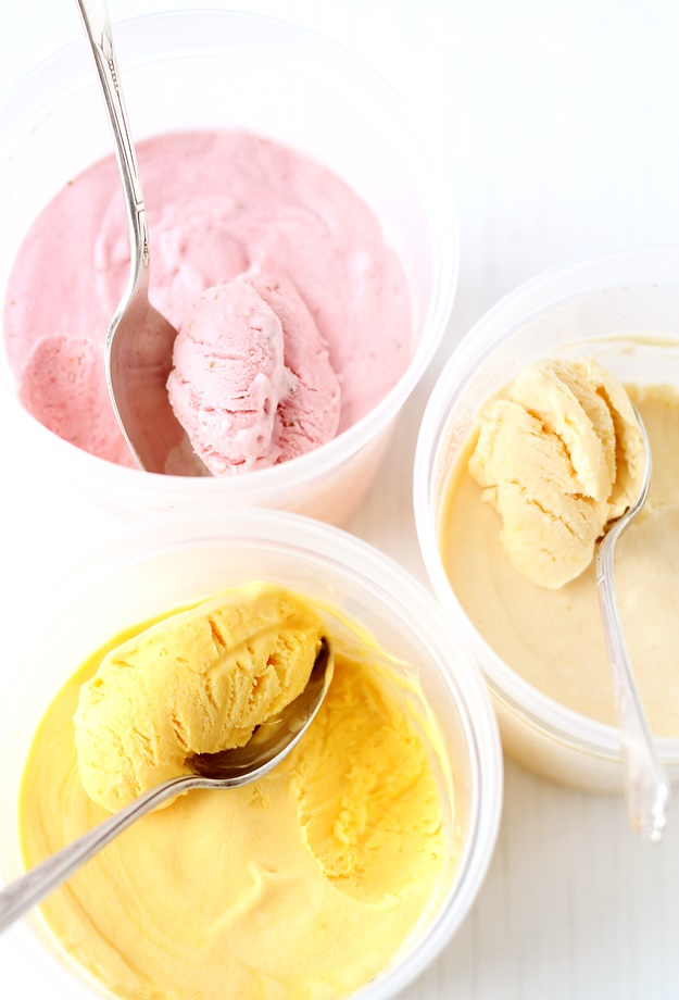 3 ingredient fruit ice cream without eggs