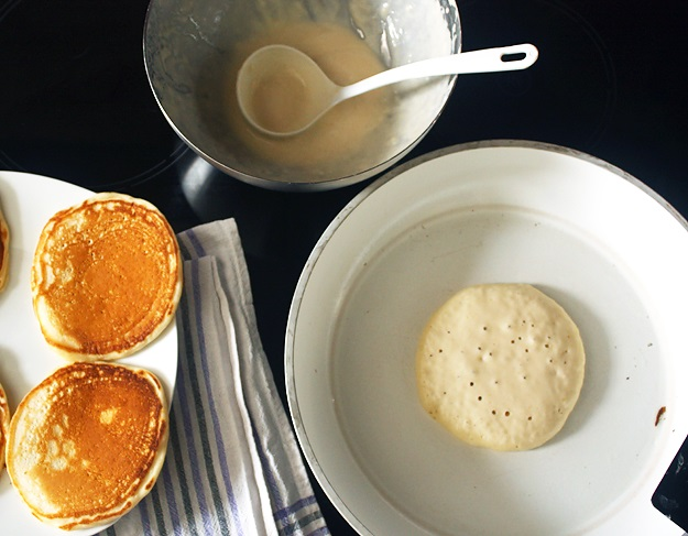 Buttermilk Pancakes in frying pan