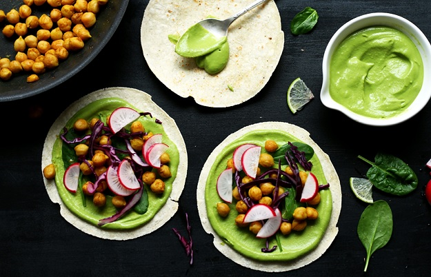 Chickpea Tacos with green salsa recipe