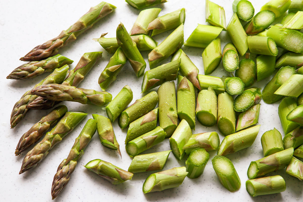 Chopped green Asparagus for risotto recipe