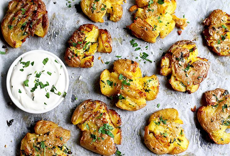 Crispy Smashed Potatoes easy Recipe