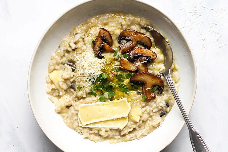 Easy creamy mushroom brie risotto recipe