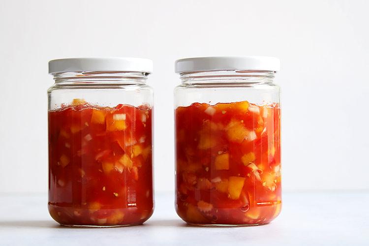 Fermented tomato peach salsa