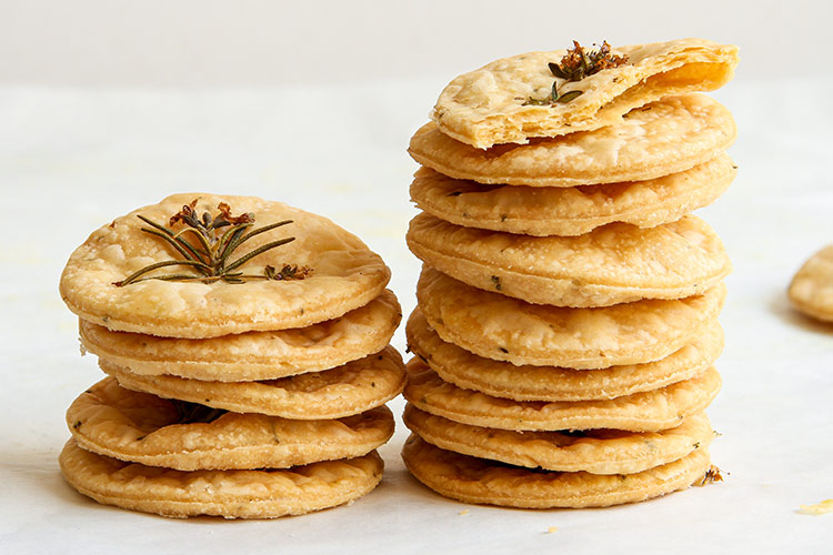 Flaky savory herb crackers with fresh herbs recipe