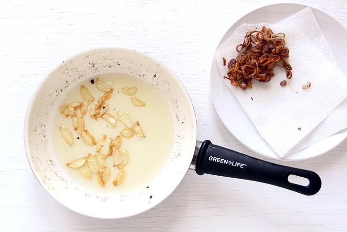 Fried onion and garlic for Ahi Poke