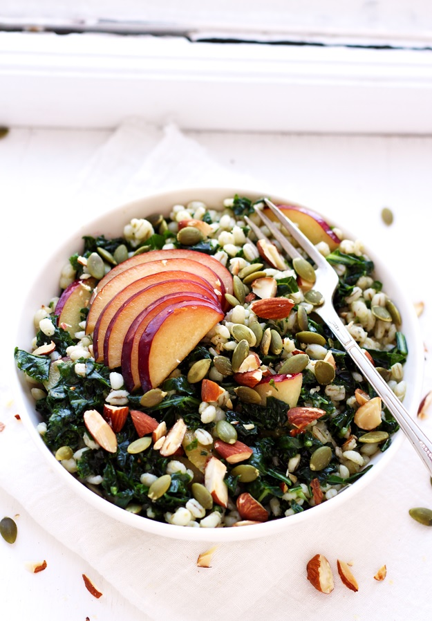 Grain Salad with Barley Kale and Plums recipe