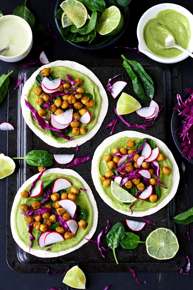 Green Spring Tacos with Curried Chickpeas Spinach and Radishes Recipe