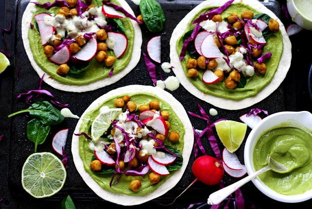 Green Spring Tacos with Curried Chickpeas