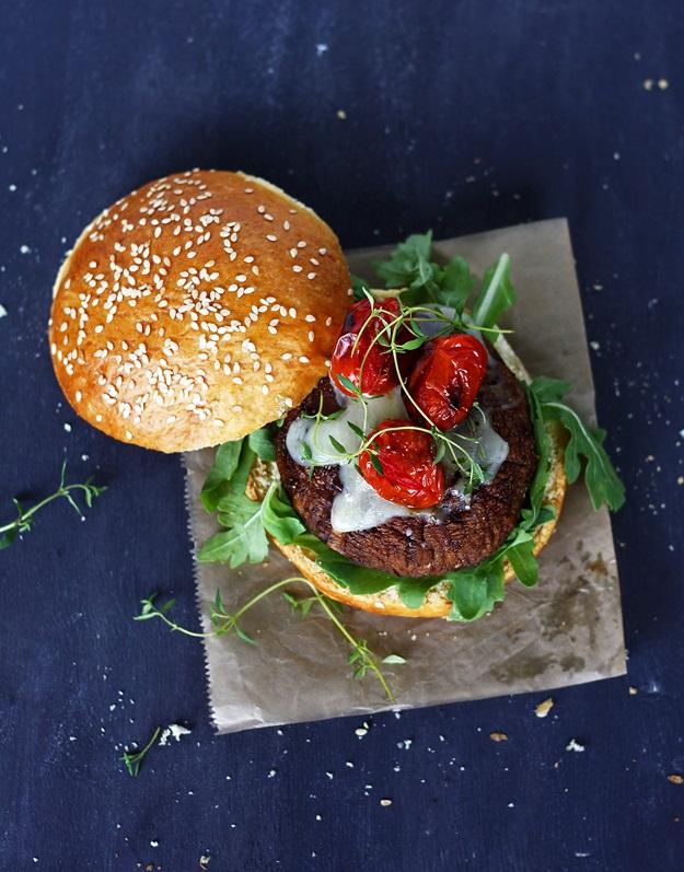 Grilled Portobello Burger on Homemade Brioche Buns