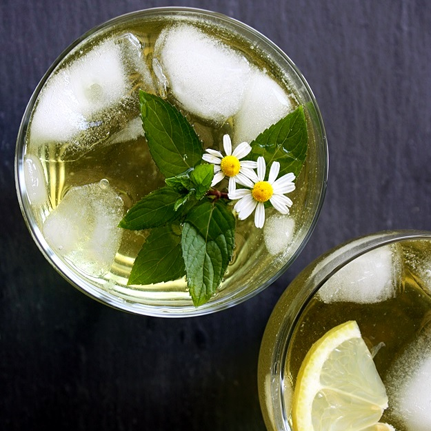 Summer iced tea from fresh herbs