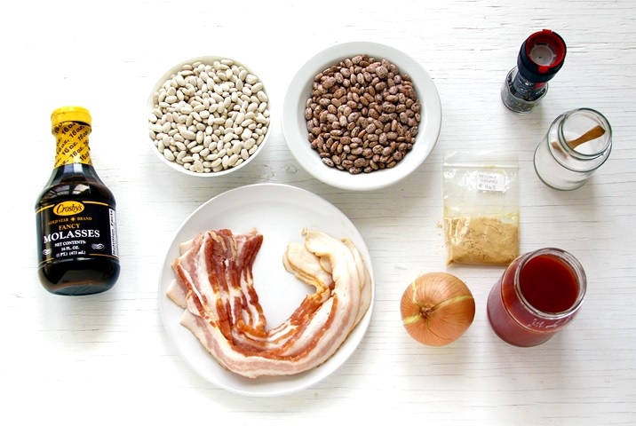 Ingredients for Boston Baked Beans.