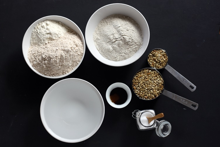 Ingredients for sunflower bread