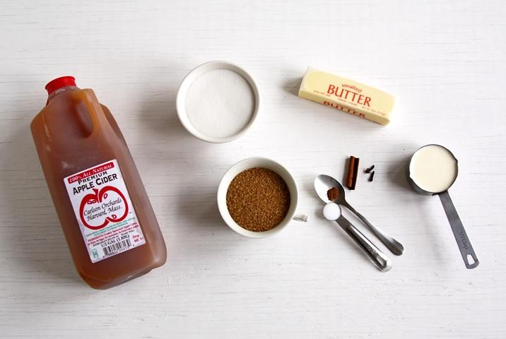 Ingredients for apple cider caramels
