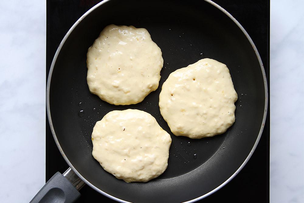 Pancake batter in pan
