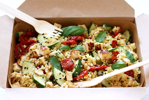 Millet Bowl with Tofu and Semi-Dried Tomatoes