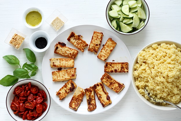 Ingredients for Millet Bowl with soy tahini tofu