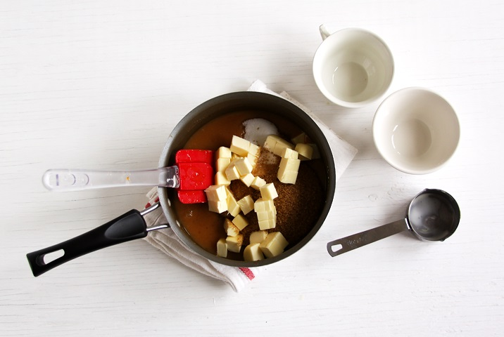 Mixing ingredients for Apple cider caramels