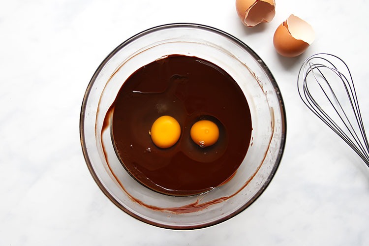 Bowl with chocolate and eggs