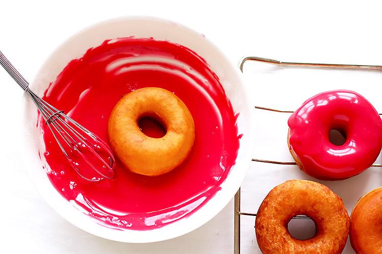 Pink glazed donut recipe raspberry glaze