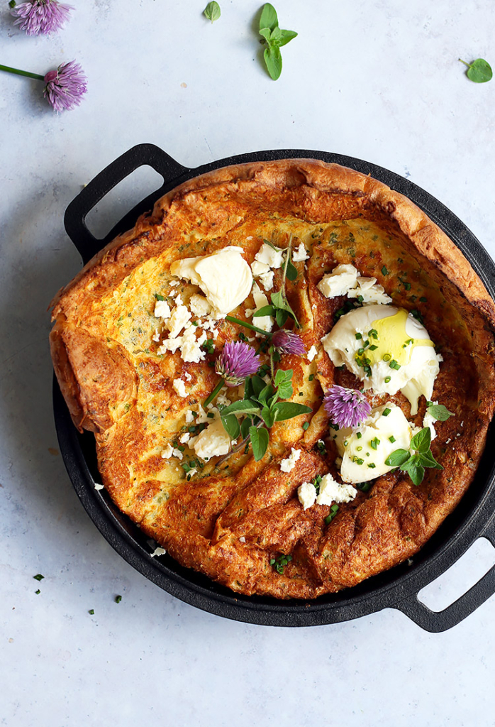 Puffy Savory Dutch Baby with Cheese and Herbs Recipe