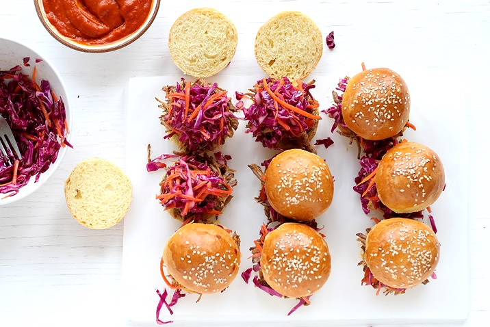 Pulled Pork Sandwiches with BBQ sauce and red cabbage slaw recipe