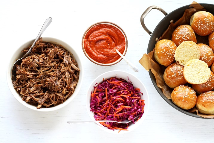 Pulled Pork Sliders with homemade BBQ sauce and red cabbage slaw