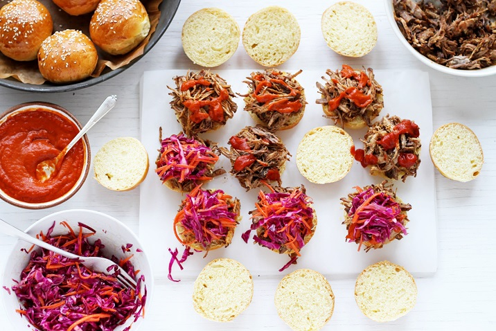 Pulled Pork sliders quick recipe made in the oven