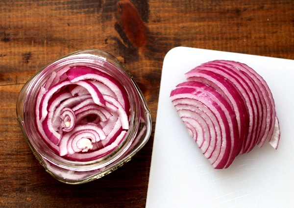 Quick pickled onions, three ways