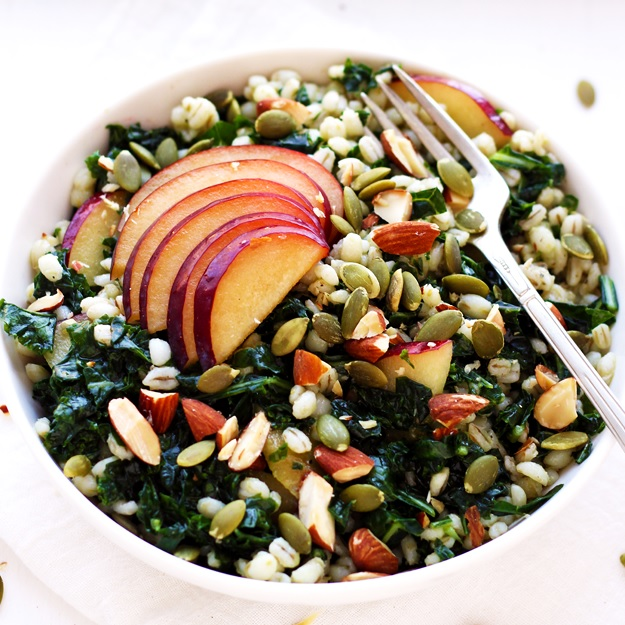 Grain Salad with Kale, Plums and a Crunchy Topping