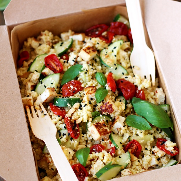 Millet Bowl with Soy-Tahini glazed Tofu and Semi-Dried Tomatoes
