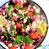Recipe couscous salad with carrots and beets