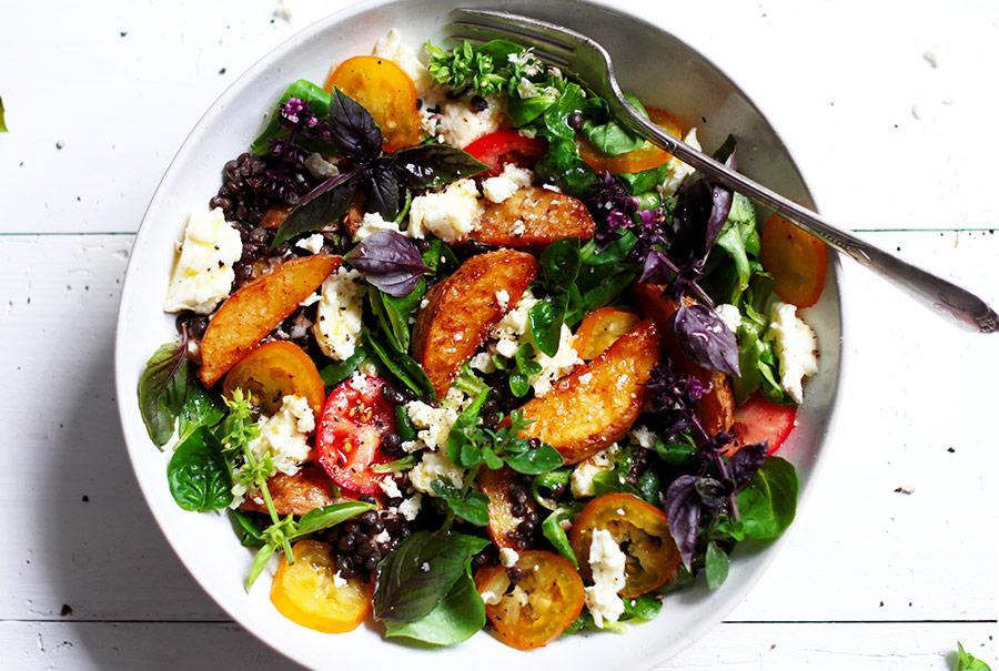 Potato Wedges Lentil Salad