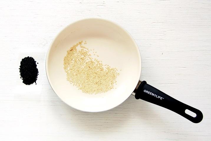 Roasting sesame seeds for Ahi Poke Bowl