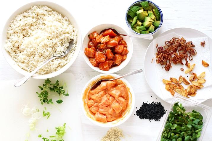 Salmon Poke Bowls Toppings and Marinades