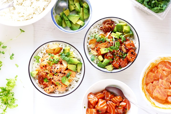 Salmon Poke Bowls with two marinades Recipe