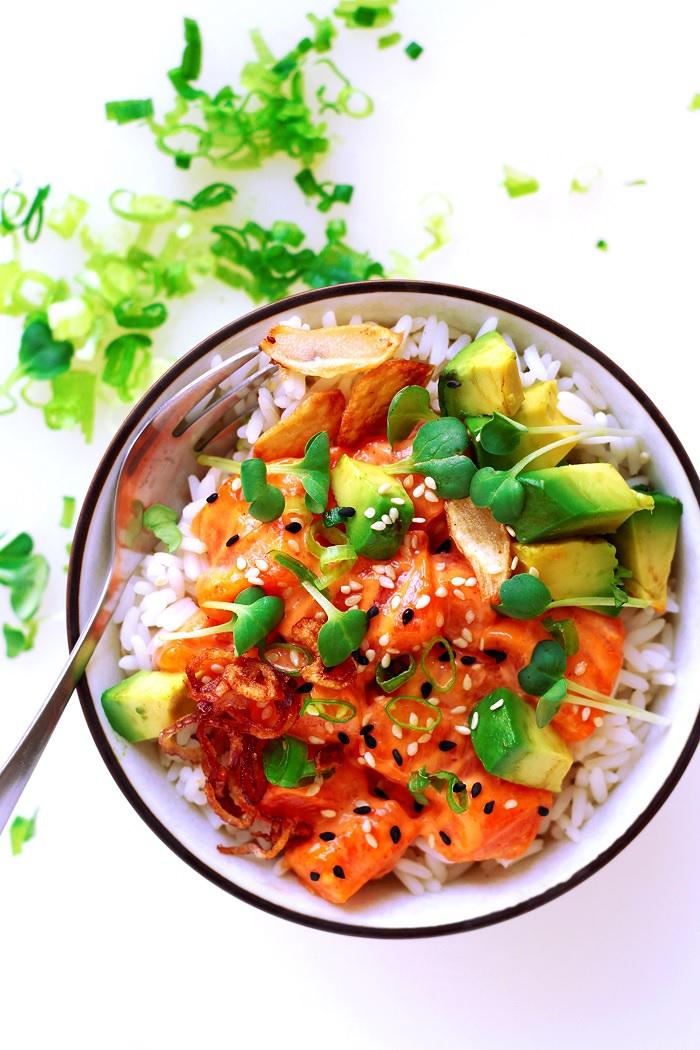 Salmon Spicy Mayo Poke Bowl Recipe