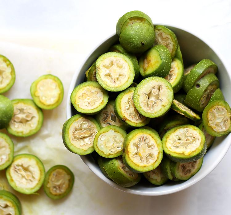 Sliced green walnuts for walnut liqueur recipe