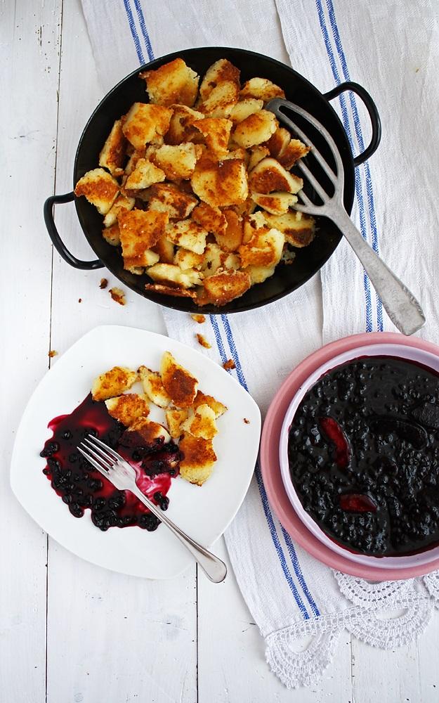 Stewed Elderberries with Baked Semolina