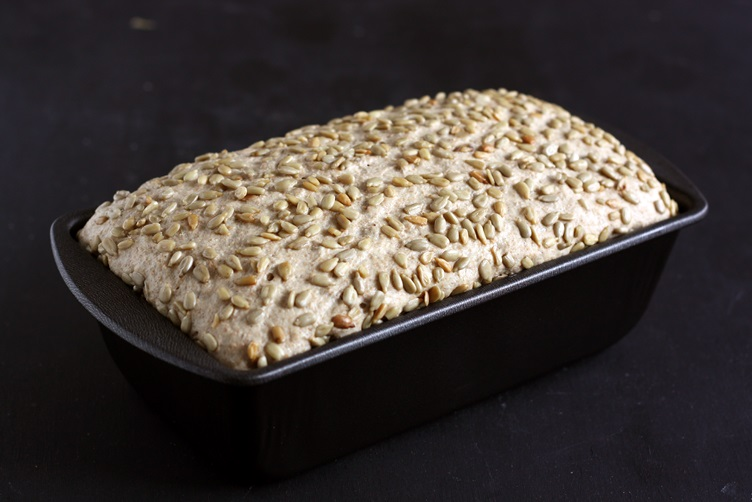 Sunflower bread after rising