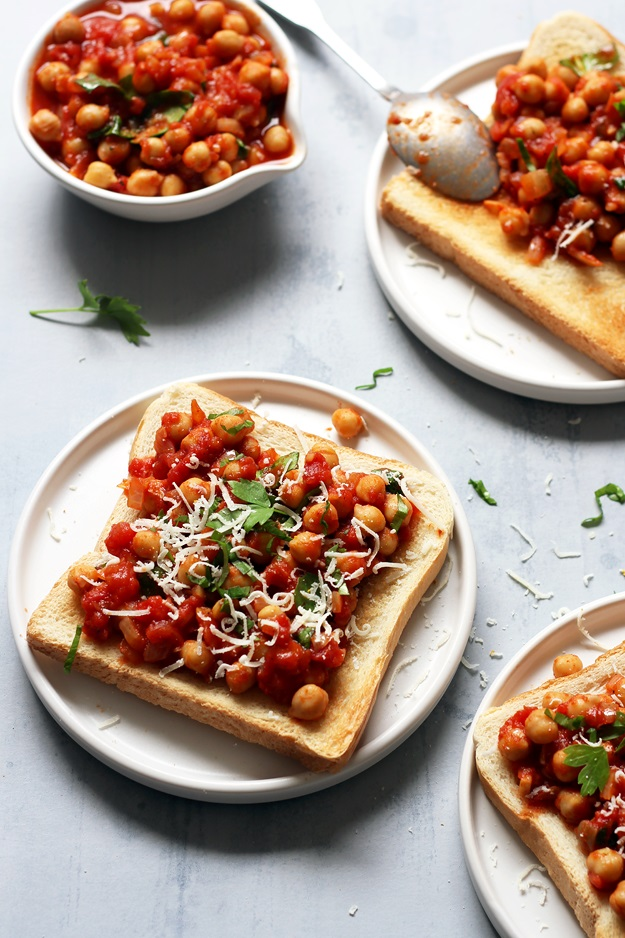 Tomato chickpeas on toast recipe