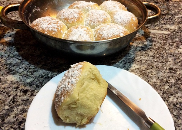 Light yeast buns Buchteln made following a recipe from lilvienna.com