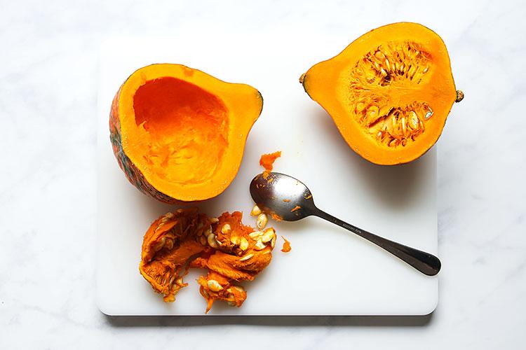 Preparing a hokkaido pumpkin for pumpkin soup