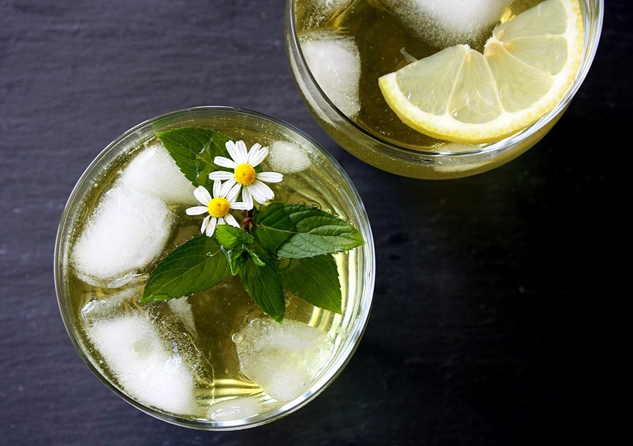 homemade iced tea from fresh herbs